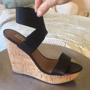 Black Steve Madden strappy cork wedge sandals